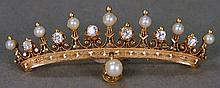14K rose gold tiara pin set with eight pearls and six diamonds, late 19th - early 20th century.