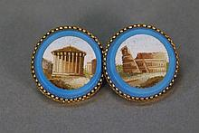 Pair of Victorian micro mosaic earrings in gold setting. dia. 1in.