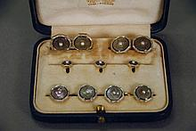 14K gold nine piece cuff link and button set, in original Tiffany & Co. fitted box.