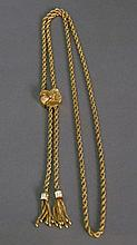 14K gold rope style slide chain with tassels. 33.6 grams; lg. 14in.