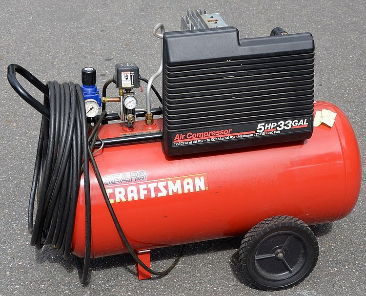 similiar sears gallon air compressor keywords lot 115 sears craftsman 5hp 33 gal air compressor