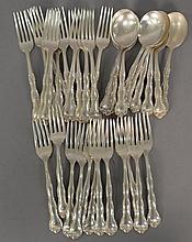Gorham sterling silver flatware set, Rondo pattern including 12 luncheon forks, 12 dinner forks, and 12 soup spoons, 47.11 t oz.