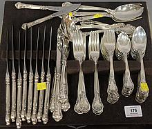 Gorham sterling silver flatware set, 70 total pieces including 12 dinner knives, 12 tablespoons, 12 teaspoons, 12 salad forks, 12 di...