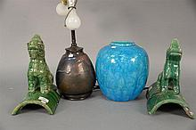 Four Oriental glazed pieces to include a blue glazed vase, two green glazed roof tiles, and flambe glazed vase made into lamp. vases...