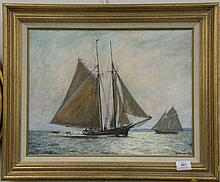 Arnold Whitman Knauth II (Born 1918) oil on masonite, Sailing Home, signed lower right A. Knauth, 14