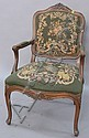 Louis XV style armchair with needlepoint upholstery.