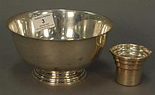 Sterling silver three piece lot including a bowl and Oriental piece, bowl: ht. 3 1/2in.; dia. 6 1/2in., 18.4 t oz.