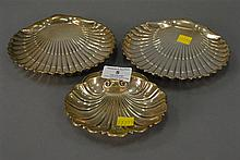Group of three sterling silver shell dishes, 10.8 t oz.