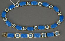 Sterling silver enameled necklace and bracelet marked David Anderson.
