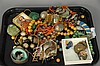 Tray lot of costume jewelry to include hardstone necklaces, brass beads, earrings, silver, etc.