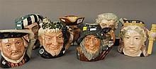 Seven Royal Doulton Toby mugs, average ht. 7in.