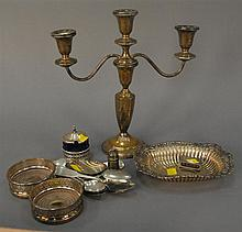 Group lot of silver and sterling to include coasters, sterling dish, sterling weighted candelabra, etc., 7.3 t oz. of weighable ster...