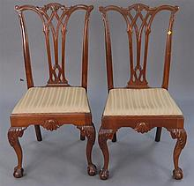 Set of six custom mahogany Chippendale style side chairs.