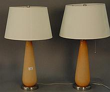 Group of four art glass lamps.