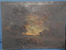 Anne Rogers Minor (1864-1947) Dark Moonlite Sky oil on canvas signed lower right Anne Rogers Minor, unframed, 18