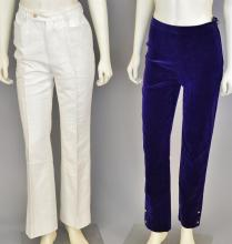 Two women's velvet pants, Chanel purple and Gucci white (size 40)