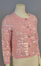 Chanel cardigan, pink with sequins in squares, new with tag retail $4,355 (size 38)