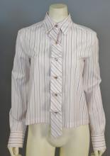 Chanel blouse, pale pink with brown stripes, new with tags (size 38).