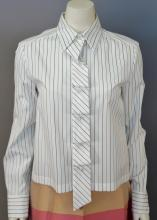 Chanel cotton blouse, white with blue and brown stripes, new with tags (size 38)