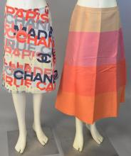 Chanel two piece skirt lot with A-line Chanel skirt and a full length A-line skirt with color blocks of tan, pink, melon, and orange...