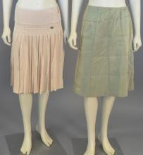 Chanel two piece skirt lot with peach pleated knit skirt and olive green A-line skirt (waist approximately 28