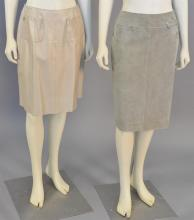 Chanel two piece skirt lot including tan leather skirt and olive green suede skirt (waist approximately 28