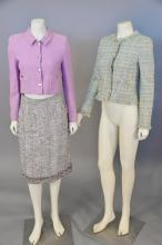 Chanel three piece lot including tweed skirt with fringe bottom (size 42), purple tweed crop jacket, and multi colored and green twe...