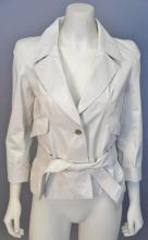 Chanel calfskin/leather jacket, off white with belt and silk lining. size 38