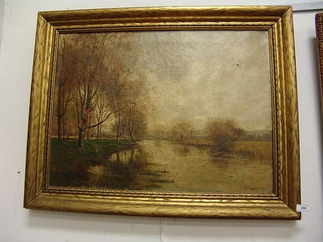 Alexander T. Van Laer (1857-1920) oil on canvas, signed lower right, river landscape in original gilt carved frame, 20