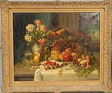 Hans (Ronsard) Zatzka (1859-1945) STILL LIFE OF FRUITS AND FLOWERS ON TABLE oil on canvas signed lower right H. Zatzka 24