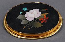 Pietra Dura brooch with 14K mount.