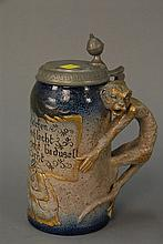 Sarreguemines Student Monkey stoneware stein with monkey handle, 1.0L marked 2717 with pewter lid. ht. 9in.