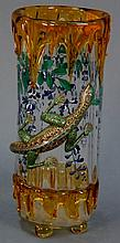 Moser applied and decorated vase having clear glass with amber glass rim and foot with drippings and applied glass enameled lizard o...