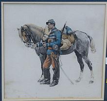 After Edouard Detaille (1848-1912) SOLDIER WITH HORSE watercolor signed lower right Fac Simile D'Apres une Aquarelle De Edouard Deta..