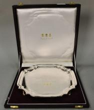 English silver footed tray marked .925, monogrammed, in original fitted box. 24.2 t oz.
