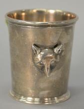 Kieselstein-Cord sterling fox cup having molded fox head on side. 5.1 t oz.