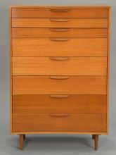 Harvey Probber eight drawer highboy. ht. 54 in.; wd. 36 in.; dp. 18 in.