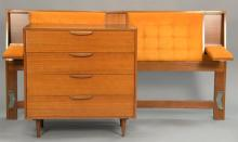 Harvey Probber four drawer chest and tufted orange velvet bed with arm rest. chest: ht. 36 1/2 in.; wd. 36 in.; dp. 18 in.