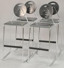 Four Post-Modern chrome bar stools. seat ht. 30 in.