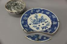 Two piece lot to include Japanese charger dia. 16 in. (as is) and a Copeland bowl dia. 9 1/2 in.