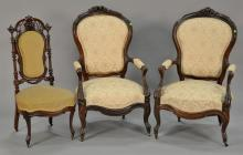 Pair of Rosewood Victorian gents chairs (one back as is).