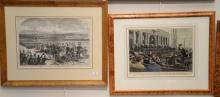 Set of six Harpers Weekly double page hand colored lithographs including Skating, Supreme Court, Engineering, Halt of Wagon Train, D...