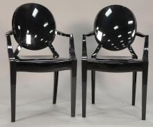 Pair of Phillipe Starek black Luis Ghost chairs by Kartell.