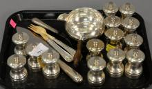 Fourteen sterling pepper grinders, handled poringer, four weighted handle pieces.