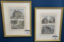 Set of ten Harpers Weekly hand colored lithographs, framed and matted by Wesley Allen Framemakers. average size 15
