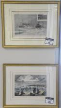 Set of ten Harpers Weekly hand colored lithographs, framed and matted by Wesley Allen Framemakers. average size 10