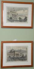 Group of fifteen framed and matted newspaper colored lithographs including Ballou's Pictorial Drawing Room, Centennial Exposition, H..