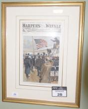 Set of ten Harpers Weekly hand colored lithographs, all framed and matted by Wesley Allen Framemakers. average size 15