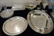 Large group of silverplate to include eight trays, ice buckets, bowls, etc.