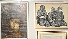 Two framed pieces including Moshe Gat (1935) wood cut of three older women signed lower right Moshe Gat and marked bottom center E/A...